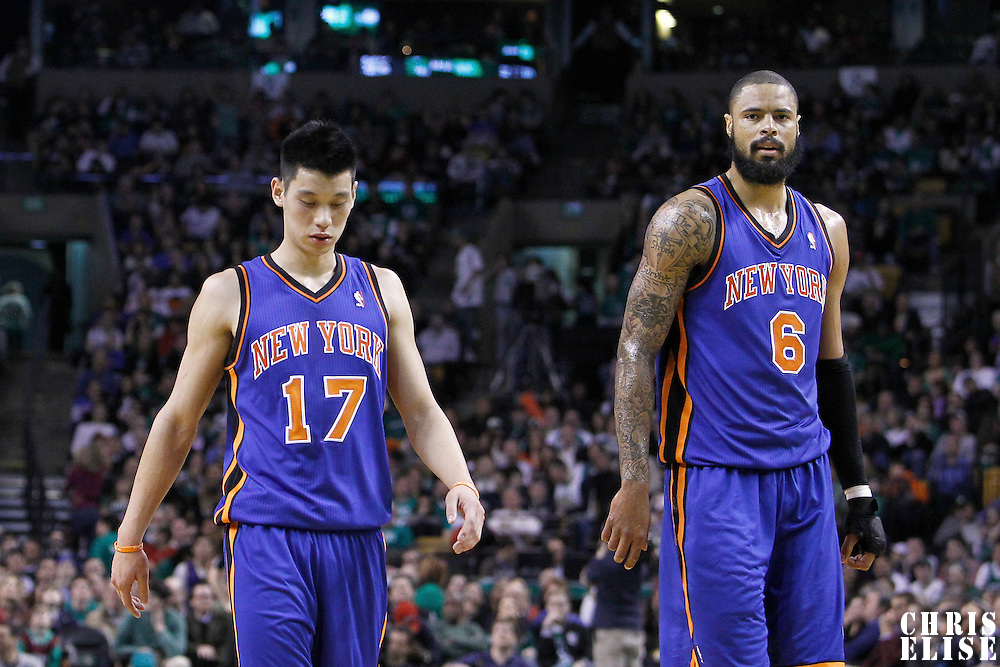 04 March 2012: New York Knicks point guard Jeremy Lin (17) and New York Knicks center Tyson Chandler (6) are seen during the Boston Celtics 115-111 (OT) victory over the New York Knicks at the TD Garden, Boston, Massachusetts, USA.