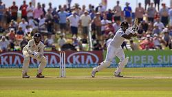 November 7, 2018 - Galle, Sri Lanka - Sri Lankan cricketer Angelo Mathews plays a shot as England wicket keeper Ben Foakes (L) looks on during the 2nd day's play of the first test cricket match between Sri Lanka and England at Galle International cricket stadium, Galle, Sri Lanka, on 7 Novemeber 2018. (Credit Image: © Tharaka Basnayaka/NurPhoto via ZUMA Press)