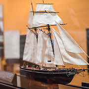 "SULLIVAN'S ISLAND, South Carolina - A model of La Amistad. From the exhibit caption: ""In July 1839, 53 enslaved Africans revoted on board La Amistad, leading to a U.S. Supreme Court ruling that set the Africans free. The captives were smuggled to the Americas from Africa after the international slave trade was outlawed. The Africans revolted off the coast of Cuba, and their case for freedom was heard in a New England court."" The museum features an exhibit titled African Passages that focuses on Sullivan's Island's history as one of the primary slave-trade ports in the United States. Fort Moultrie is part of the Fort Sumter National Monument at the entrance to Charleston Harbor in South Carolina. The fort has played a crucial role in defending the harbor from the time of the Revolutionary War through World War II. During that time it has undergone multiple upgrades, from the original palmetto log walls to the newer heavily fortified earthen bunkers."
