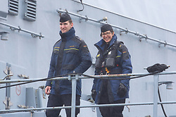 Pictured: Smiles from a crew member onboard the German Navy (F219) Frigate as it leaves King George V Dock, Govan Glasgow heading out to take part in Joint Warrior 172 Formidable Shield Exercises.<br /> <br /> <br /> © Stephen Smyth/ EEm