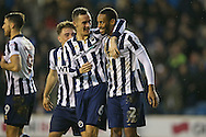 Shaun Cummings of Millwall ® celebrates after scoring his sides 2nd goal with Shaun Williams of Millwall. The Emirates FA Cup 3rd round match, Millwall v AFC Bournemouth at The Den in London on Saturday 7th January 2017.<br /> pic by John Patrick Fletcher, Andrew Orchard sports photography.