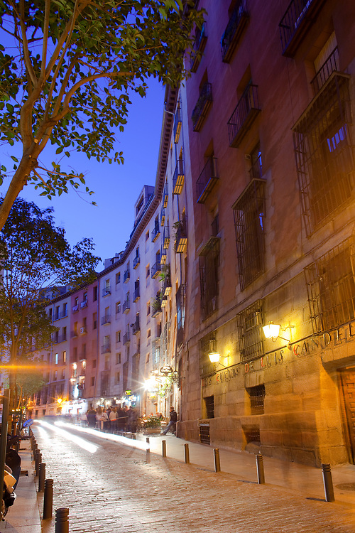 Madrid, Spain - Night life and Restaurants in a small alley at downtown.