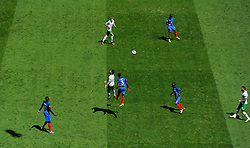 Shane Long of Republic of Ireland battles for the high ball with, Patrice Evra of France  - Mandatory by-line: Joe Meredith/JMP - 26/06/2016 - FOOTBALL - Stade de Lyon - Lyon, France - France v Republic of Ireland - UEFA European Championship Round of 16
