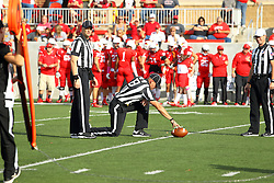 29 October 2016:  Umpire Edward Laco and Referee Rich Edwards look on as Back Judge Justin Staehr works on a measurement for a first down. NCAA FCS Football game between South Dakota State Jackrabbits and Illinois State Redbirds at Hancock Stadium in Normal IL (Photo by Alan Look)