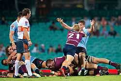 March 9, 2019 - Sydney, NSW, U.S. - SYDNEY, NSW - MARCH 09: Waratahs player Michael Hooper (7) pushed over by Reds player Tate McDermott (21) at round 4 of Super Rugby between NSW Waratahs and Queensland Reds on March 09, 2019 at The Sydney Cricket Ground, NSW. (Photo by Speed Media/Icon Sportswire) (Credit Image: © Speed Media/Icon SMI via ZUMA Press)