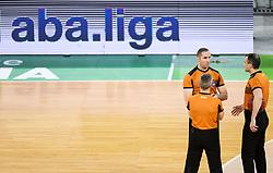 Referees Uros Nikolic, Saso Petek and Rados Savovic during basketball match between KK Cedevita Olimpija (SLO) and KK Zadar (CRO) in Round #22 of ABA League 2020/21, on January 30, 2021 in Arena Stozice, Ljubljana, Slovenia.  Photo by Vid Ponikvar / Sportida