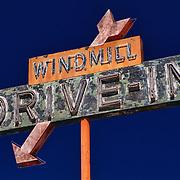 Windmill Drive Inn Sign - Kingsburg, CA - Highway 99 - HDR