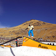 Competitors in action at the Quiksilver Invitational Slopestyle event at the Queenstown WInter Festival, The Remarkables Ski Field's Terrain Park, Queenstown, South Island, New Zealand, 3rd July 2011