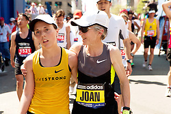 Abby and Joan Samuelson after finishing Boston Marathon together