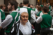 A woman from the Breton group Bagad Plougastell .