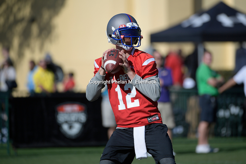 Team Armour quarterback Myles Brennan (12) throws a pass during a practice for the Under Armour All-America football game in Lake Buena Vista, Fla., Saturday, Dec. 31, 2016. (Photo by Phelan M. Ebenhack)