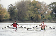 """Putney. London. GREAT BRITAIN;  Left, GBR LM1X. peter HAINING and right, Niall O'TOOLE.<br /> <br /> 1995 Thames World Sculling Championships, Putney to Mortlake. Championship Course, River Thames.<br /> <br /> [Mandatory Credit; """"Photo, Peter Spurrier/Intersport-images]"""