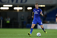 Joe Ralls of Cardiff City in action. EFL Skybet championship match, Cardiff city v Sheffield Utd at the Cardiff City Stadium in Cardiff, South Wales on Tuesday 15th August 2017.<br /> pic by Andrew Orchard, Andrew Orchard sports photography.