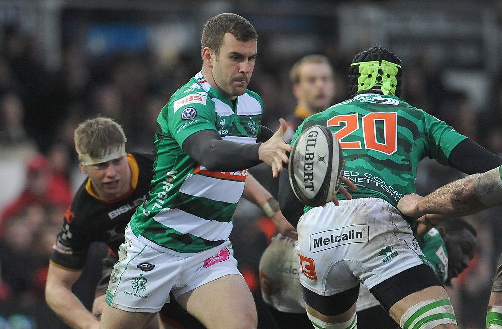 Benetton Rugby's Giorgio Bronzini looks to clear the ball <br /> <br /> Photographer Ian Cook/CameraSport<br /> <br /> Guinness Pro14 Round 15 - Dragons v Benetton Rugby - Sunday 18th February 2018 - Rodney Parade - Newport<br /> <br /> World Copyright © 2018 CameraSport. All rights reserved. 43 Linden Ave. Countesthorpe. Leicester. England. LE8 5PG - Tel: +44 (0) 116 277 4147 - admin@camerasport.com - www.camerasport.com