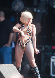Lady Gaga rubs a drumstick on her crotch, the ultra glam, Grammy nominated American pop singer-songwriter made her debut on the main stage at T in the Park, on Saturday 11th July, 2009.