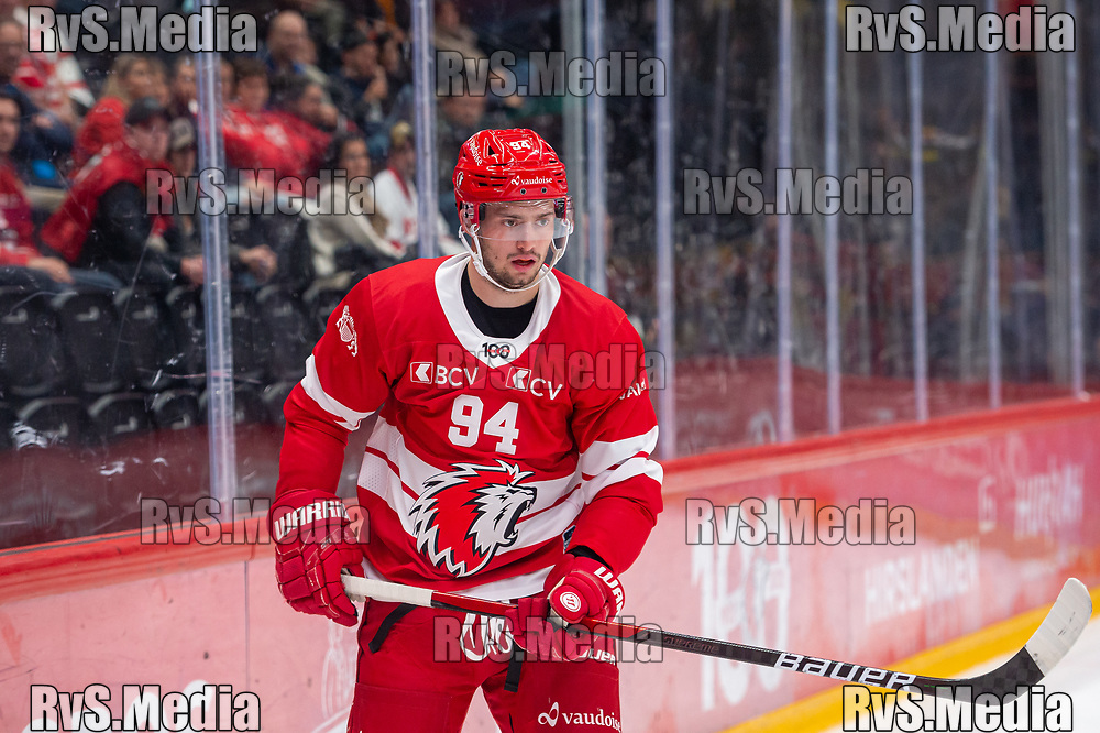 LAUSANNE, SWITZERLAND - SEPTEMBER 28: Tim Bozon #94 of Lausanne HC looks on during the Swiss National League game between Lausanne HC and SC Bern at Vaudoise Arena on September 28, 2021 in Lausanne, Switzerland. (Photo by Monika Majer/RvS.Media)