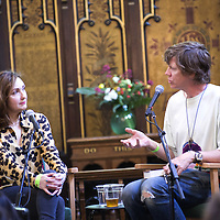 Viv Albertine and Thurston Moore<br /> On stage at the Stoke Newington Literary Festival. 8 June 2014<br /> <br /> Picture by David X Green/Writer Pictures