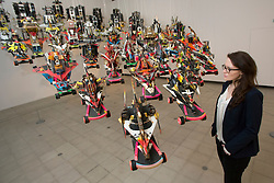 © licensed to London News Pictures. London, UK 10/06/2013. Underground street artist Rammelzee's 26 letter racers is a fleet of skateboard based free hanging sculptures seen by members of press at Hayward Gallery in Southbank Centre, London as part of the Alternative Guide to Universe exhibition. Photo credit: Tolga Akmen/LNP