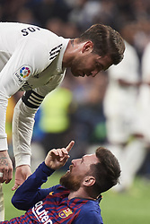 March 2, 2019 - Madrid, Madrid, Spain - Lionel Messi (forward; Barcelona), Sergio Ramos (defender; Real Madrid) in action during La Liga match between Real Madrid and FC Barcelona at Santiago Bernabeu Stadium on March 3, 2019 in Madrid, Spain (Credit Image: © Jack Abuin/ZUMA Wire)