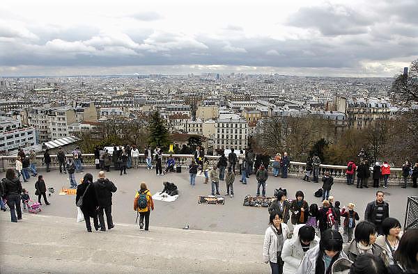 Frankrijk, Parijs, 28-3-2010Panorama van een deel van Parijs vanaf het plein voor de Sacre Coeur. Exterieur.Foto: Flip Franssen/Hollandse Hoogte