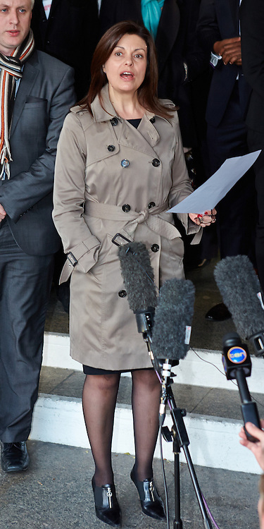 © Licensed to London News Pictures.  29/11/2012. LONDON, UK. Jackie Hayes (pictured), a member of campaign group Hacked Off and a victim of press intrusion, speaks to the media outside QE2 hall following the announcement of the Leveson Inquiry this afternoon. Photo credit :  Cliff Hide/LNP