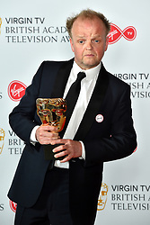 Toby Jones, with his BAFTA for best male comedy performance, at the Virgin TV British Academy Television Awards 2018 held at the Royal Festival Hall, Southbank Centre, London.
