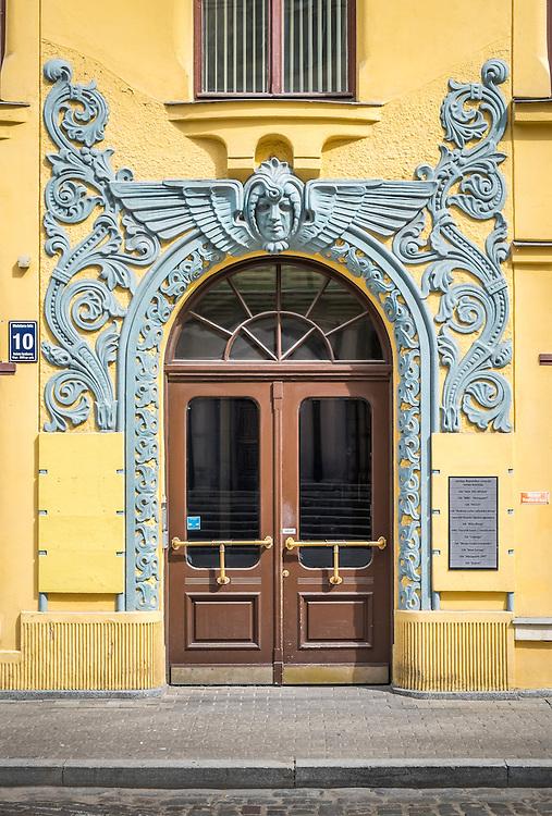 RIGA, LATVIA - CIRCA JUNE 2014: Detail of entrance decoration at the Cat House building, a landmark in Riga