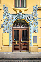 RIGA, LATVIA - CIRCA JUNE 2014: Detail of entrance decoration at the Cat House building, a landmark in Riga