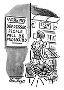 (A woman shopping in a supermarket sees a sign warning that depressed people will be prosecuted)