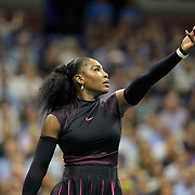 2016 U.S. Open - Day 11  Serena Williams of the United States serving against Karolina Pliskova of the Czech Republic in the Women's Singles Semifinal match on Arthur Ashe Stadium on day eleven of the 2016 US Open Tennis Tournament at the USTA Billie Jean King National Tennis Center on September 8, 2016 in Flushing, Queens, New York City.  (Photo by Tim Clayton/Corbis via Getty Images)