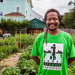 Bobby Walker, Farmer Trainer for The Urban Farming Institute of Boston at the Garrison-Trotter Farm in the Dorchester neighborhood of Boston, Massachusetts.