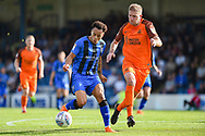 Gillingham FC midfielder Elliott List (15) and Southend United defender Michael Turner (6) during the EFL Sky Bet League 1 match between Gillingham and Southend United at the MEMS Priestfield Stadium, Gillingham, England on 13 October 2018.