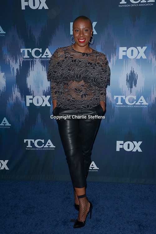 AISHA HINDS at the Fox Winter TCA 2017 All-Star Party at the Langham Hotel in Pasadena, California
