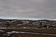 snow in nasbinals  , and lake road, massif central  Aubrac  France    /  region de nasbinals, et route des lacs sous la neige. massif central aubrac  nasbinals  France