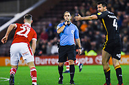 Jeremy Simpson (Referee) blows up to penalise Ryan McGowan of Bradford City (4) tackle on Mike-Steven Bahre of Barnsley (21) during the EFL Sky Bet League 1 match between Barnsley and Bradford City at Oakwell, Barnsley, England on 12 January 2019.