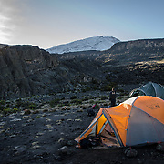 Tents at Moir Hut Camp (13,660 feet) on Mt Kilimanjaro's Lemosho Route. The mountain's peak is covered in snow in the distance.