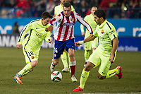 Atletico de Madrid´s Gimenez and Barcelona´s Lionel Messi and Luis Suarez during 2014-15 Spanish King Cup match between Atletico de Madrid and Barcelona at Vicente Calderon stadium in Madrid, Spain. January 28, 2015. (ALTERPHOTOS/Luis Fernandez)