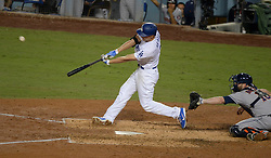 October 31, 2017 - Los Angeles, CA, United States - Dodgers Corey Seager, #5, drives out the go ahead run against the Astros in the 6th inning in Game 6 of the World Series at Dodger Stadium Tuesday, October 31, 2017. (Credit Image: © David Crane/Los Angeles Daily News via ZUMA Wire)