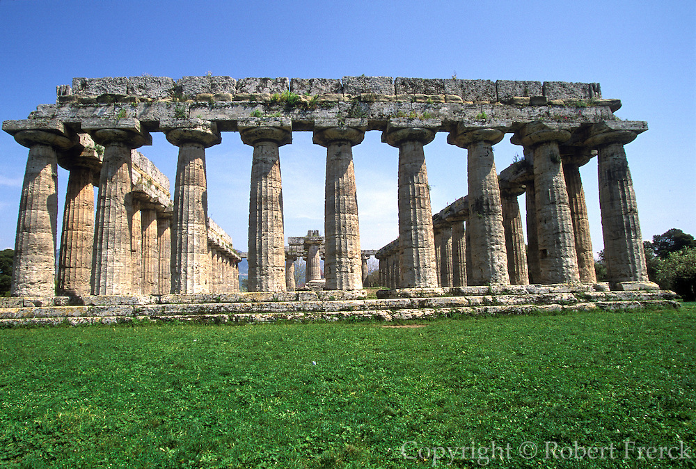 ITALY, GREEK CULTURE, Paestum, Greek Colony fd. in 6cBC Basilica, archaic Doric temple