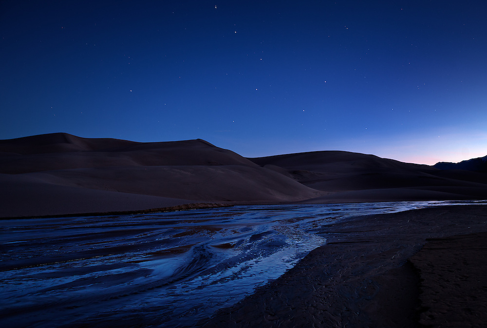 Shortly after sunset the Big Dipper sets over the sand dunes.