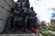 The Response 1914 is a war memorial photographed in Tuesday, March 16, 2021 - is also known as the Northumberland Fusiliers Memorial. It is located in the public gardens to the north of the Church of St Thomas the Martyr in Barras Bridge, Newcastle upon Tyne, and to the west of Newcastle Civic Centre. (Photo/ Vudi Xhymshiti)