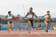Orlan Ombissa! Dzangue (FRA) competes and wins the Gold medal on Women's 100 m Finale during the Jeux Mediterraneens 2018, in Tarragona, Spain, Day 7, on June 28, 2018 - Photo Stephane Kempinaire / KMSP / ProSportsImages / DPPI