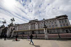 The Union Flag flies at half mast on top of Buckingham Palace, London, following the announcement of the death of the Duke of Edinburgh at the age of 99. Picture date: Friday April 9, 2021.