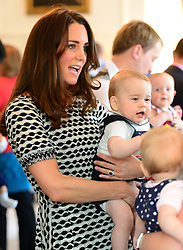 The Duke and Duchess of Cambridge and Prince George attend the Plunket Parent's Group at Government  House in Wellington, New Zealand. Wednesday, 9th April 2014.  by James Whatling / i-Images / Pool