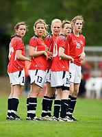 Norway players before corner kick. Norway-Sweden, WU17 Four Nation's Tournament. Eerikkilä, Finland, 25.5.2007. Photo: Jussi Eskola