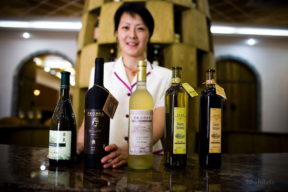 Wine from the Huadong Winery, from left to right: chardonnay 2004, shiraz dry red wine (Olympic limited edition), chardonnay 1998, chardonnay 2003, cabernet sauvignon, 2003, are seen in Qingtao, China, June 23, 2009.