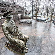 A second statue of President Franklin D. Roosevelt at the FDR Memorial in Washington DC. This statue was not part of the original design of the memorial but was added later after a controversy about the main statue obscuring the fact that Roosevelt relied on a wheelchair. This statue was added in 2001. This particular shot is taken in winter.