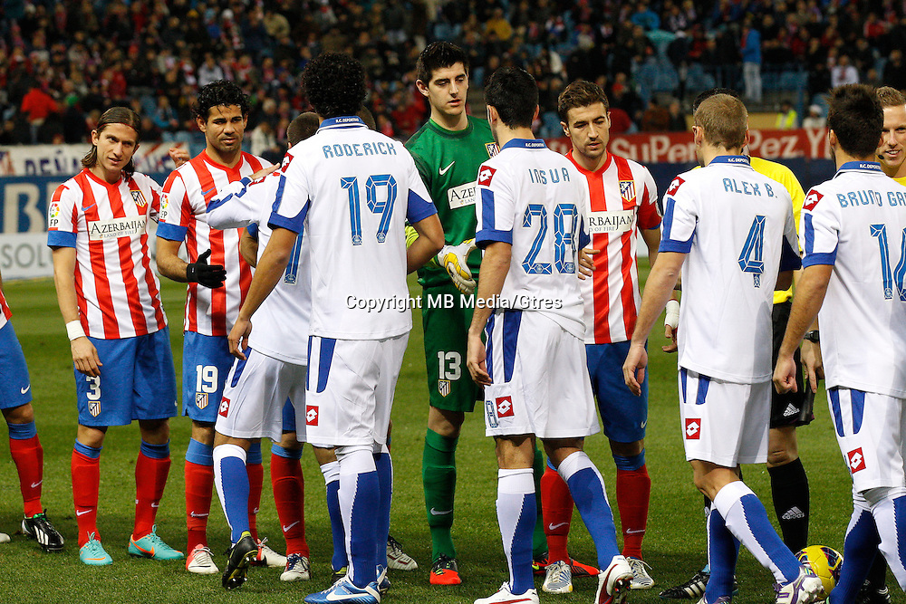 09.12.2012 SPAIN -  La Liga 12/13 Matchday 15th  match played between Atletico de Madrid vs R.C. Deportivo de la Courna (6-0) at Vicente Calderon stadium. The picture show