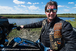 Fabio Sassanelli of Italy out for a ride on his rented Harley-Davidson dresser during Daytona Bike Week. FL, USA. March 14, 2014.  Photography ©2014 Michael Lichter.