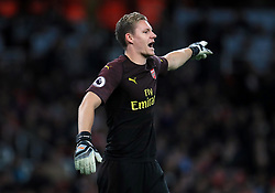 """Arsenal goalkeeper Bernd Leno during the Premier League match at the Emirates Stadium, London. PRESS ASSOCIATION Photo. Picture date: Monday October 22, 2018. See PA story SOCCER Arsenal. Photo credit should read: Mike Egerton/PA Wire. RESTRICTIONS: EDITORIAL USE ONLY No use with unauthorised audio, video, data, fixture lists, club/league logos or """"live"""" services. Online in-match use limited to 120 images, no video emulation. No use in betting, games or single club/league/player publications."""